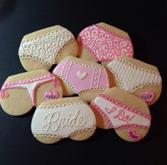 There are plenty of fun bachelorette party ideas that you can implement into your bash. Let the bride get wild one last time before her big day. Bachelorette Party Cookies, Bachlorette Party, Bachelorette Games, Country Bachelorette Parties, Cowgirl Bachelorette, Bridal Lingerie Shower, Bridal Shower Cakes, Lingerie Shower Decorations, Lingerie Cake