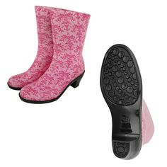 Pink Ribbon Damask Rain Boots at The Autism Site