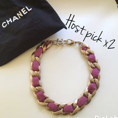 Authentic Chanel necklace Gorgeous rare necklace by Chanel. Mat gold with a pink interwoven ribbon, so classic!! In great condition, minor hairline scratches from storage. From the 2009 cruise collection, made in Italy. 2x host pick! All proceeds go to charity! CHANEL Jewelry Necklaces