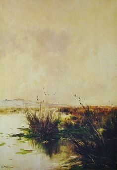 Eliseo Meifrén Roig. Marismas. Óleo sobre lienzo. Firmado. 100 x 70 cm. Ausa, p. 143.