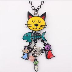 Colorful French Cat Necklace Enamel Pendant