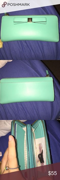turquoise kate spade wallet barely used and in great condition! kate spade Bags Wallets