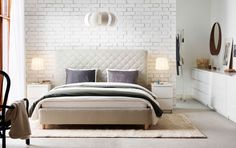 SNEFJORD Polsterbett, upholstered bed from IKEA - It sort of reminds me of a modern Upper East Side apartment! Small Furniture, White Furniture, Bedroom Furniture, Ikea Bedroom Sets, White Chest Of Drawers, Interior Design Examples, Design Ideas, Build A Closet, Scandinavian Bedroom