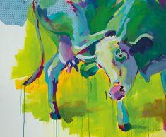 """Cow Art - Kuh Kunst """"Was kratzt mich des Menschen Unrast"""" Acrylic on canvas, 120x100 cm"""