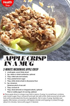 AppleCrisp: delish! I used a pink lady apple, quick oats, subbed butter for coconut oil, cooked for 1 min 50 sec, topped w/honey yogurt and nuts. Made 12/19/16