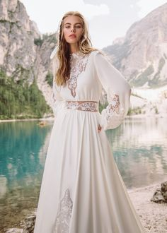 """Beautiful Embroidered Bohemian A-Lane Wedding Dress / Bridal Gown with High Neck, Long Sleeves and a Train. Collection """"Wind Rose"""" 2019 by Armonia Bridal Fashion Week, Rose Dress, Bridal Dresses, Wedding Planning, Bohemian, Long Sleeve, Model, Beautiful, Collection"""
