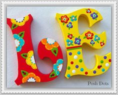 Ver Hand Painted Names por PoshDots en Etsy Painted Initials, Painting Wooden Letters, Wooden Initials, Wooden Wall Letters, Nursery Letters, Letter A Crafts, Painted Letters, Letter Art, Monogram Letters