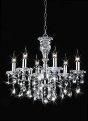 Add an elegant, traditional touch to any formal dining room with this chrome chandelier. With a chrome finish and clear crystal accents, this six-light chandelier shines and sparkles as it illuminates