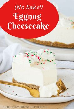 Eggnog Cheesecake With A Gingersnap Crust This Is A Super Easy Recipe For A Homemade Christmas Dessert And It Happens To Be No-Bake Made From Scratch Desserts Are Always A Welcome Addition To Holiday Parties And Everyone Loves This One New Year's Desserts, Christmas Desserts, No Bake Desserts, Dessert Recipes, Christmas Ideas, Holiday Foods, Christmas Goodies, Christmas Inspiration, Christmas Baking