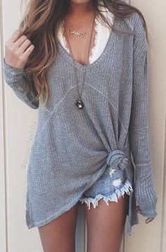 #summer #outfits / short shorts + gray