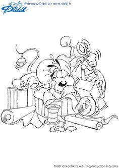 Diddl la souris est entrain d'emballer les cadeaux, coloriage pour enfants
