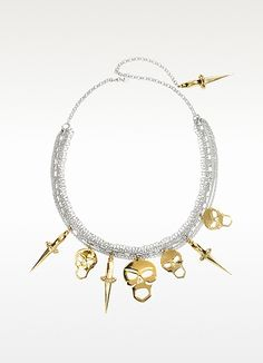 Bernard Delettrez Silver Chains with Bronze Skulls and Dagger Necklace $1,155.00