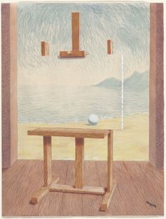 Rene Magritte  The Human Condition, 1945  watercolor, crayon over graphite, ink and gouache on paper, 169/16 x 125/8 inches
