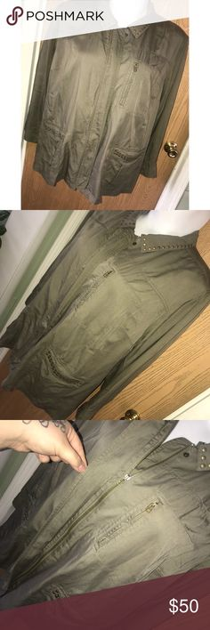 """3X/4X Olive studded twill utility jacket Super cute lightweight olive green studded twill utility jacket.  ❗️Please no low ball offers.❗️ ❗️Bundles always get a discount.❗️ Condition: NWT Measurements- Armpit to armpit: 3X-29"""", 4X-31"""" Total length: 3X-30"""", 4X-32"""" Smoke free home but I have a small dog.  Thanks for checking out my closet! ❤️ Catherines Jackets & Coats Utility Jackets"""