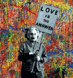 """""""Love is in Answer"""" - Albert Einstein graphic on Jackson Pollock wall, La Brea, south of Hollywood (1st depiction)"""