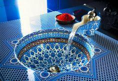 Moorish, Andalusian windows, tiles & floors - inset washbasin