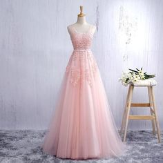 XP133 2017 Gorgeous Pink V Neck Tulle Lace Formal Prom Dress, Open Back A Line Formal Gown With Lace Appliques