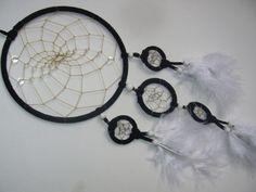 Schwarzer 5 facher Schlafhüter mit klarem Kristall von TRAUMnetz.com     ** DReamcatcher u.v.m.  ** auf DaWanda.com