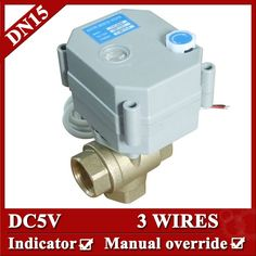 """28.33$  Buy now - """"1/2"""""""" BRASS 3 way T port Electric motor valve, DC5V motorized valve 3 wires(CR301), Mini electric valve for drain water""""  #buyonline"""