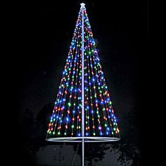 Northlight 6 ft multi color led light show cone christmas tree flagpole christmas tree kit multicolor flagco flagpolechristmastreekit multicolor led solutioingenieria Image collections