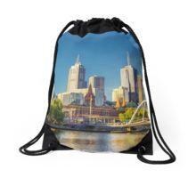 Melbourne Skyline in Setting Sun Drawstring Bag