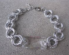 Swarovski Clear Button Chainmaille Cuff Bracelet, Lover's Knot Chain Mail and Crystal Wide Bracelet