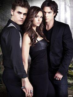 "Paul Wesley as Stefan Salvatore , Nina Dobrev as Elena Gilbert and Ian Somerhalder portrays Damon Salvatore in ""The Vampire Diaries"" (TV Series)"