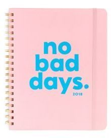 Ban.Do No Bad Days 2018 12-Month Planner Graphic planner featuring a matte laminated cover. Paper wrapped hardcover.102 pages. Year view and month view.