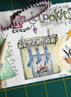 elvie studio - square of slightly diluted gesso painted over background and then doodled Doodle Art Journals, Art Journal Pages, Art Journaling, Sketch Journal, Journal 3, Watercolor Journal, Watercolor Art, Watercolor Classes, Christmas Art