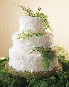 Meaghan and Conrad chose a carrot cake topped with cream cheese frosting and coconut shavings for dessert. To fit in with the décor, it was topped with maidenhair, mother, and plumosa ferns.