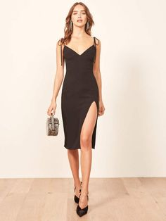 This is a midi length dress with a v neckline, strap ties and a side slit. Little Black Dress Outfit, Black Dress Outfits, Little Dresses, Sexy Dresses, Fashion Dresses, Looks Party, Tango Dress, Ballroom Dress, Classy Dress