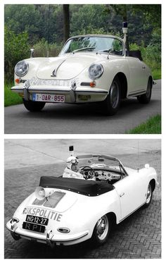 Coolest police car ever? 1962 Porsche 356B 1600 Cabriolet custom fitted for Highway Patrol of Holland.