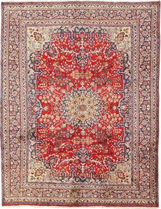 9' 6 x 12' 4 Red Mashad Persian Rugs