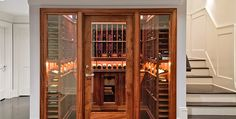 Wine Cellar by #WineArchitect  - Helped out with flooring specification here xplode copper metallic porcelain.   So beautiful.