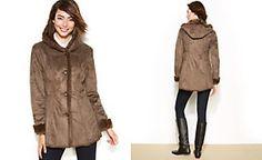 Jones New York Faux-Fur-Trimmed Single-Breasted Hooded Coat