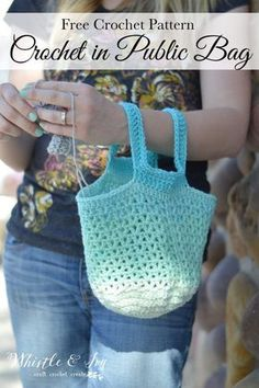 FREE Crochet Pattern: Crochet in Public Bag   Crochet everywhere with this handy bag, perfectly sized to carry a skein of yarn, and fits on your arm.