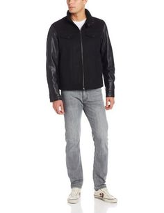"""Mixed media stand collar jacket       Famous Words of Inspiration...""""There is one thing I would break up over, and that is if she caught me with another woman. I won't stand for that.""""   Steve Martin — Click here for more from Steve...  More details at https://jackets-lovers.bestselleroutlets.com/mens-jackets-coats/lightweight-jackets/varsity-jackets/product-review-for-levis-mens-mixed-media-stand-collar-jacket/"""
