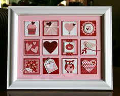 Stampin' Up! Christmas frame able punch art! Love Valentines, Valentine Crafts, Valentine Day Cards, Holiday Crafts, Valentine Ideas, Damier, Collage Frames, Frame Crafts, Craft Frames