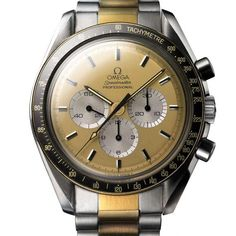 The Omega Speedmaster Bicolor (1983) was the first Speedmaster model with a two-tone design. For the full story, visit us at WatchTime.