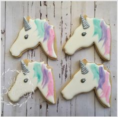 """She Bakes on Instagram: """"More #magical #handpainted #unicorns for our special friend Isla. 💜👗💕 #shebakes #bespokebiscuits #royalicing #royalicingcookiersaustralia #edibleart #decoratedcookie #instafood #foodporn #handmade #adelaide #aqua #teal #pink #purple #silver #unicorncookies #love #fun #yum #yay"""""""