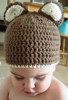 Baby Teddy Bear Crochet Beanie