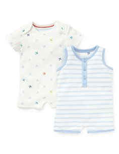 2 Pack Pure Cotton Aeroplane & Striped Onesies Clothing