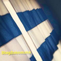 Navy and White curtain panels horizontal stripes color blocked. $200.00, via Etsy.
