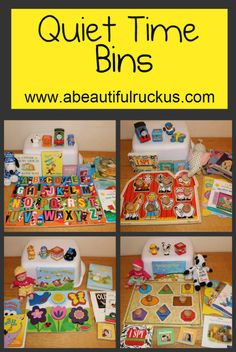 """If your kids have outgrown naps - but you still need some """"down time"""" -  try these quiet time bins!"""