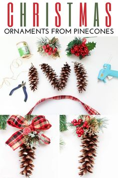 Turn pine cones into Christmas tree ornaments with this fun tutorial. You can even use pine cones from your yard to make these homemade Christmas ornaments. #domesticallycreative #christmas #ornament #diyproject Christmas Craft Projects, Christmas Ornament Crafts, Diy Christmas Gifts, All Things Christmas, Kids Christmas, Homemade Christmas Decorations, Handmade Decorations, Handmade Ideas, Christmas Traditions