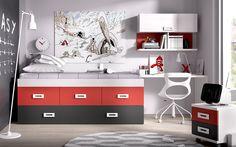 Extra-storage kids bedroom set from Rimobel Furniture, Spain with desk, wall cabinet and shelf, storage bed #sohomod