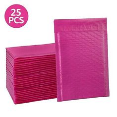 HBlife Inches Poly Bubble Mailers Self Seal Hot Pink Padded Envelopes, Pack of 25 Clear Plastic Bags, Clear Bags, Jewelry Making Beads, Jewelry Making Supplies, Bubble Wrap Bags, Fun Mail, Shipping Envelopes, Shirt Bag, Bubble Envelopes