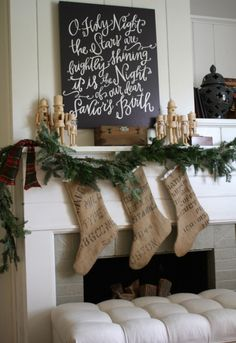 o holy night canvas - love it for christmas time Merry Little Christmas, Noel Christmas, Primitive Christmas, Winter Christmas, All Things Christmas, Christmas Stockings, Burlap Stockings, Burlap Christmas, Christmas Chalkboard