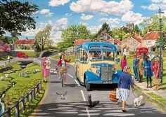 Gibsons Winter About Town Puzzle, 4 x 500 pièces Transport Pictures, Countryside Village, Best Jigsaw, Nostalgic Art, Cartoon Art Styles, Cute Illustration, Illustrations, Travel Posters, Country Life