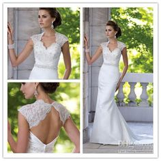 Wholesale Sexy Satin and lace slim A-line cap sleeves ,striking open back wedding dress Evening Bride Dresses, Free shipping, $123.2-134.4/Piece | DHgate